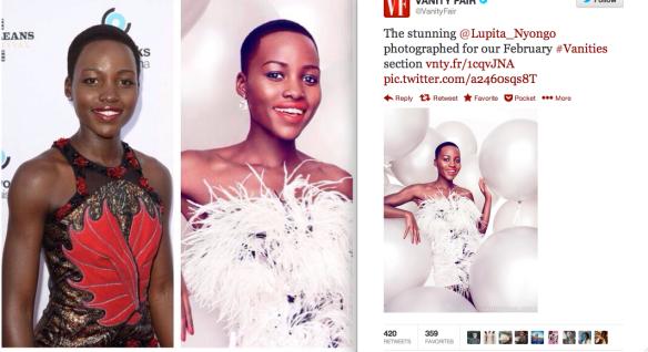 Vanity Fair whitening Lupita Nyongo's dark skin
