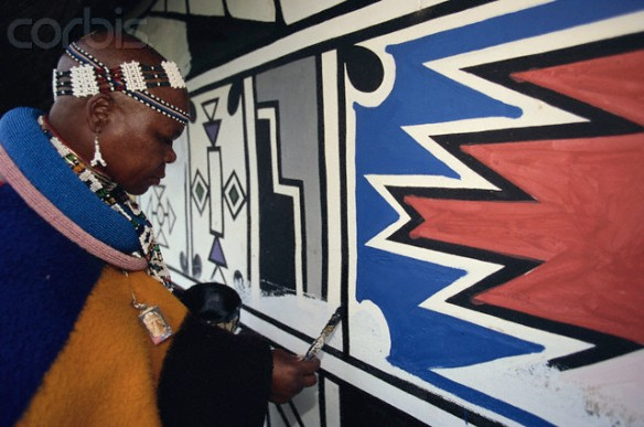 Ndebele Woman Painting a Wall